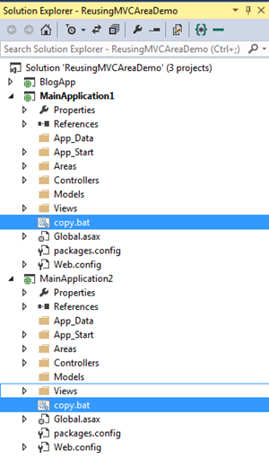 How to use a MVC area in multiple applications